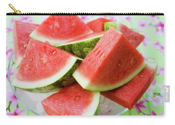 Pieces Of Watermelon On A Glass Platter Carry-all Pouch