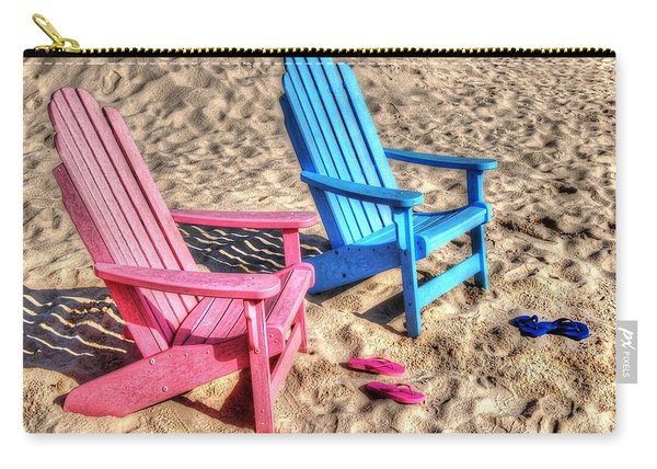 Pink And Blue Beach Chairs With Matching Flip Flops Carry-all Pouch