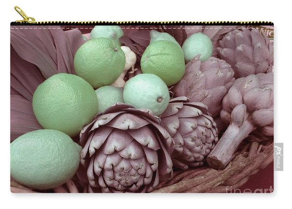 Pink Artichokes With Green Lemons And Oranges Carry-all Pouch
