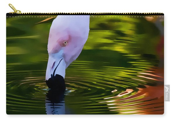 Pink Flamingo Ripples And Reflection Carry-all Pouch