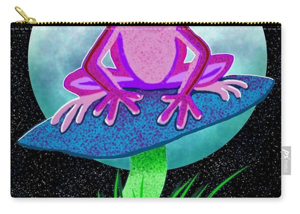 Pink Frog And Blue Moon Carry-all Pouch