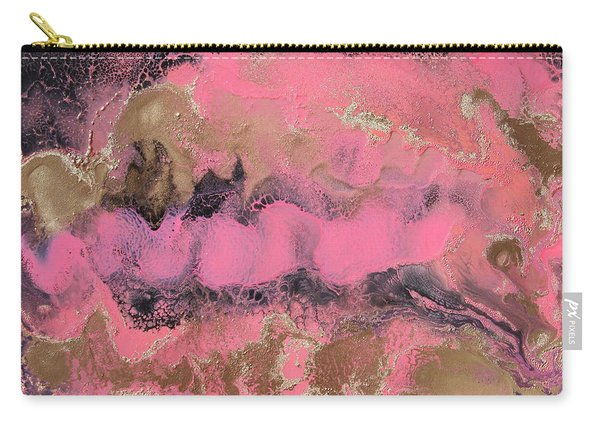 Pink Gold And Black Abstract Painting Carry-all Pouch