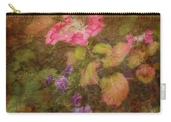 Pink Hydrangea And Purple Pansies Carry-all Pouch
