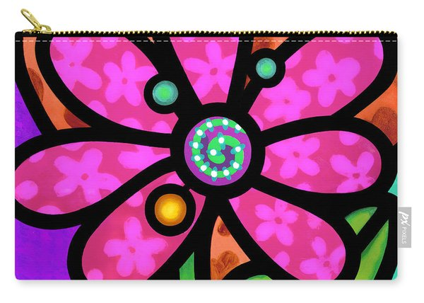 Pink Pinwheel Daisy Carry-all Pouch