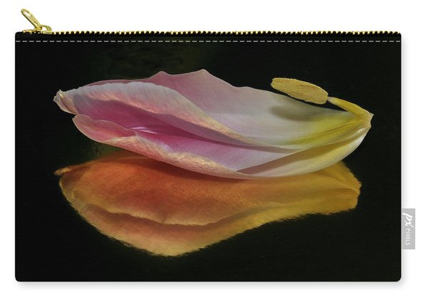 Pink Tulip Petal Reflected On Black Carry-all Pouch