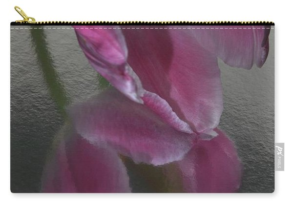 Pink Tulip Reflection In Silver Water Carry-all Pouch