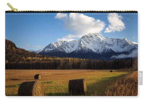 Carry-all Pouch featuring the photograph Pioneer Hay Fields by Tim Newton