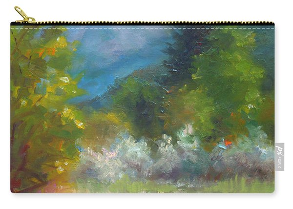 Carry-all Pouch featuring the painting Pioneer Peaking - Flowers And Mountain In Alaska by Talya Johnson