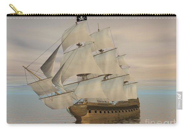 Pirate Ship With Black Jolly Roger Flag Carry-all Pouch