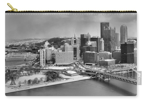 Pittsburgh Black And White Winter Panorama Carry-all Pouch
