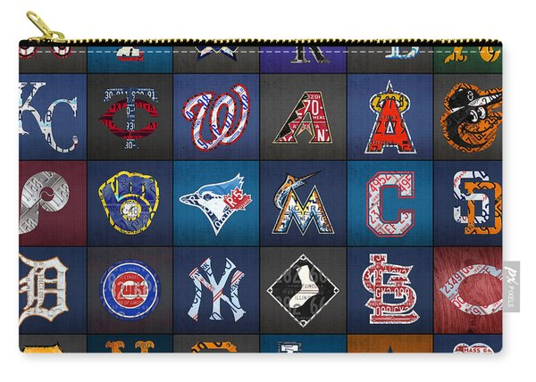 Play Ball Recycled Vintage Baseball Team Logo License Plate Art Carry-all Pouch