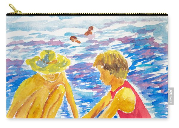 Playing On The Beach Carry-all Pouch