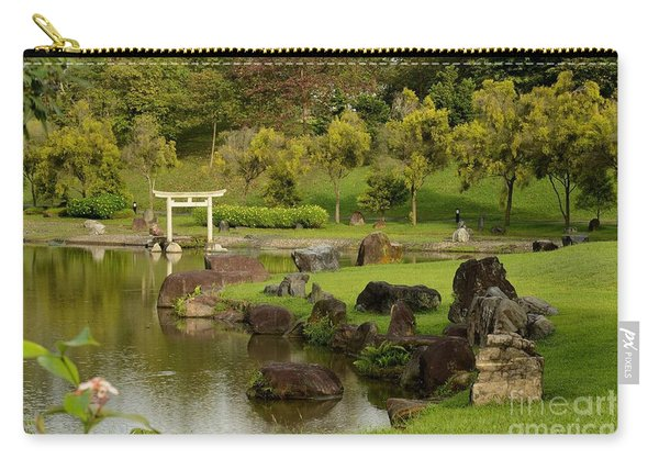 Pond Rocks Grass And Japanese Arch Singapore Carry-all Pouch