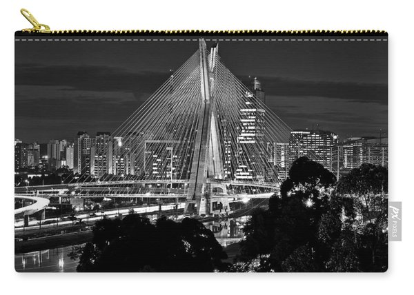 Sao Paulo - Ponte Octavio Frias De Oliveira By Night In Black And White Carry-all Pouch