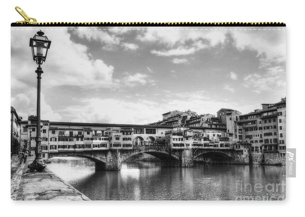 Ponte Vecchio At Florence Italy Bw Carry-all Pouch