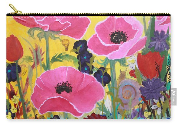 Poppies And Time Traveler Carry-all Pouch