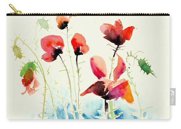 Poppies Field Poppy Watercolor Carry-all Pouch