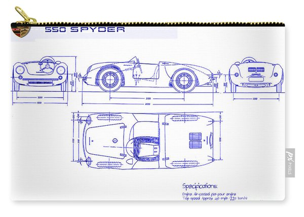 Porsche 550 Spyder Blueprint  Carry-all Pouch