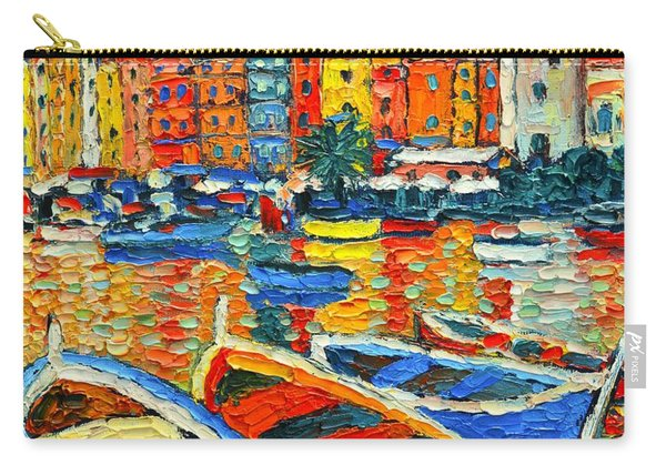 Portovenere Harbor - Italy - Ligurian Riviera - Colorful Boats And Reflections Carry-all Pouch