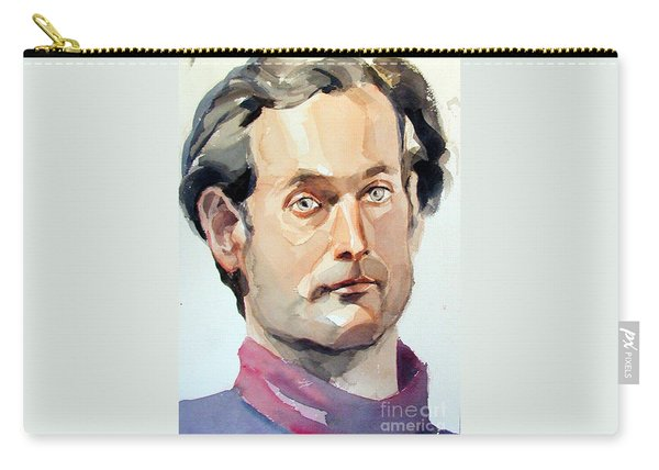 Watercolor Portrait Of A Man With Pale Blue Eyes Carry-all Pouch