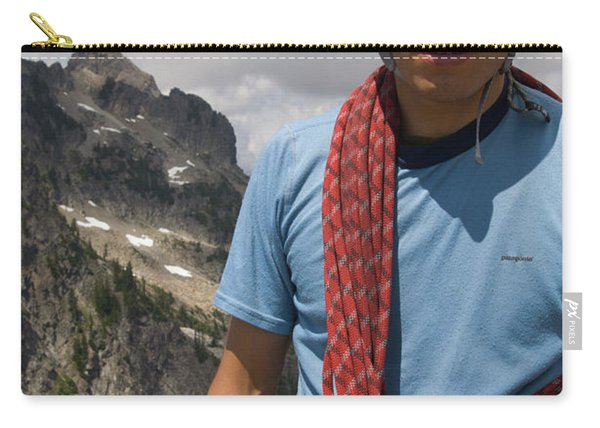 Portrait Of Climber With Rope Slinged Carry-all Pouch