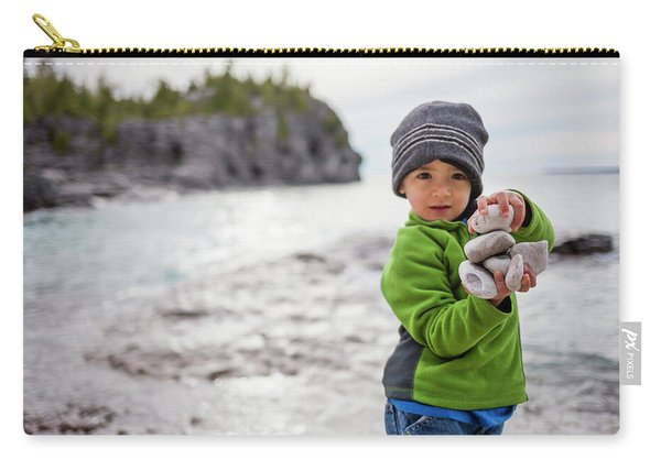 Portrait Of Little Boy Standing At Lake Carry-all Pouch