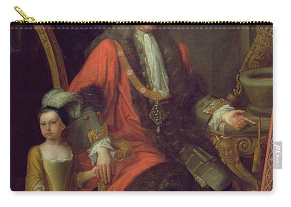 Portrait Of Sir Charles Peers, Lord Mayor In 1715, And His Granddaughter, C.1715 Oil On Canvas Carry-all Pouch