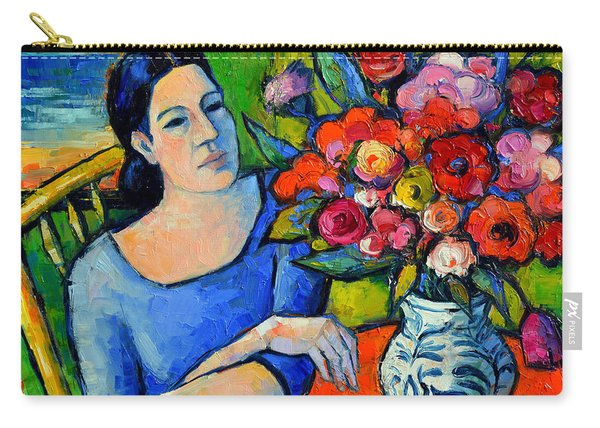 Portrait Of Woman With Flowers Carry-all Pouch