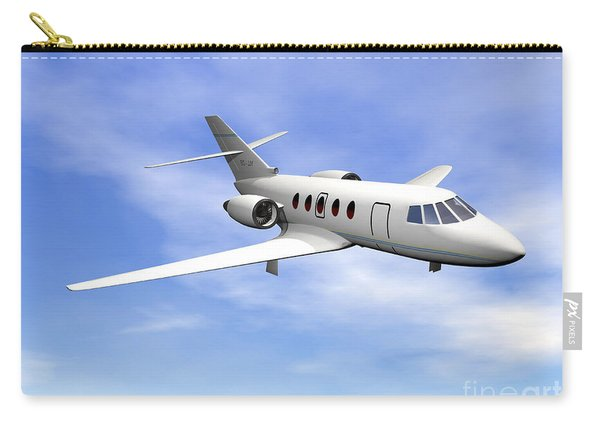Private Jet Plane Flying In Cloudy Blue Carry-all Pouch