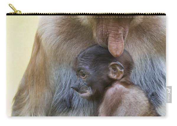 Proboscis Monkey Mother Holding Baby Carry-all Pouch