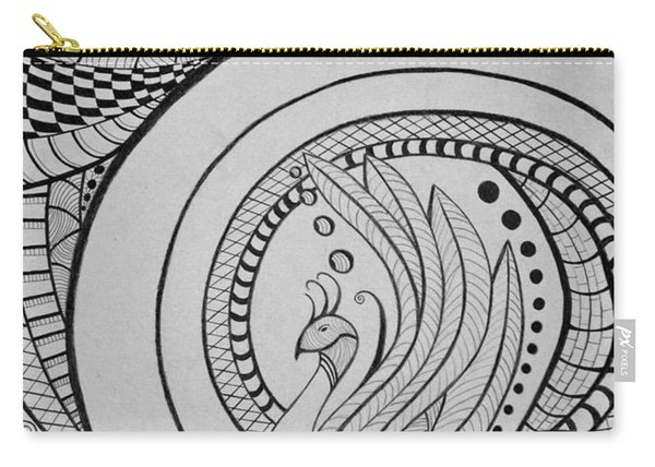 Zentangle Peacock Art Drawing Carry-all Pouch