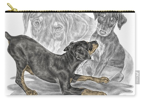 Puppy Love - Doberman Pinscher Pup - Color Tinted Carry-all Pouch