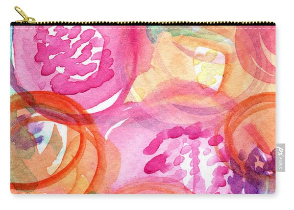 Purple And Orange Flowers Carry-all Pouch