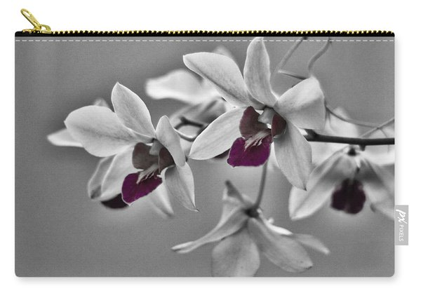 Purple And Pale Green Orchids - Black And White Carry-all Pouch