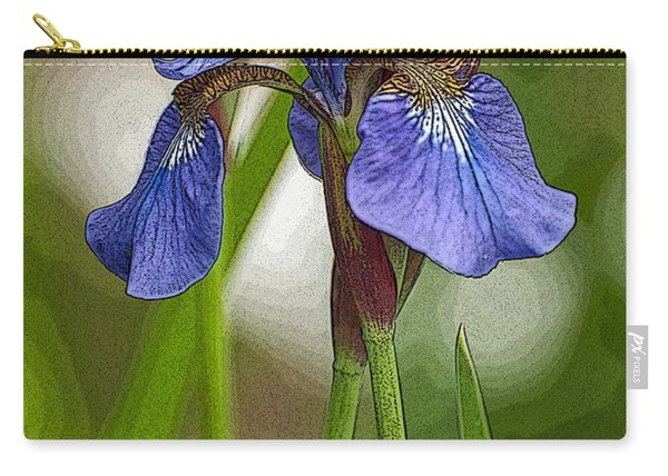 Purple Bearded Iris Watercolor With Pen Carry-all Pouch