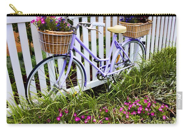 Purple Bicycle And Flowers Carry-all Pouch