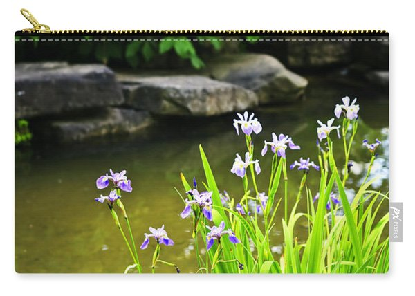 Purple Irises In Pond Carry-all Pouch