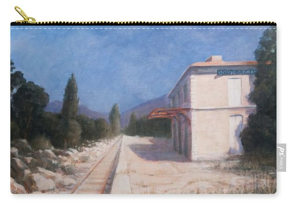 Rail Station, Châteauneuf, 2012 Acrylic On Canvas Carry-all Pouch