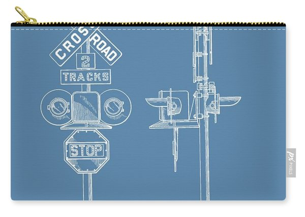 Railroad Crossing Patent On Blue Carry-all Pouch