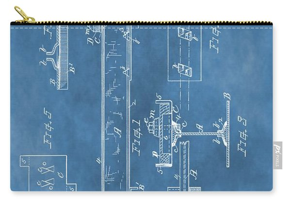 Railroad Tie Patent On Blue Carry-all Pouch