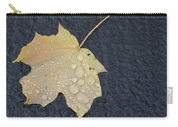 Rain Drops On A Yellow Maple Leaf Carry-all Pouch