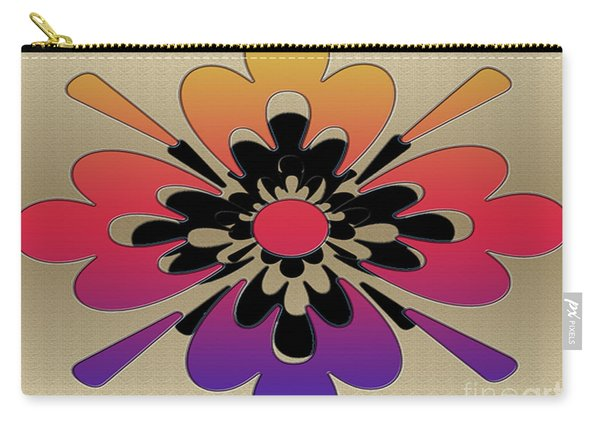 Rainbow On Gold Floral Design Carry-all Pouch