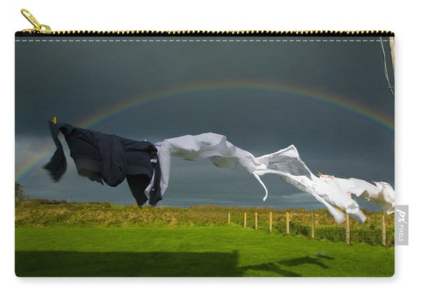 Rainbow, Stormy Sky And Clothes Line Carry-all Pouch