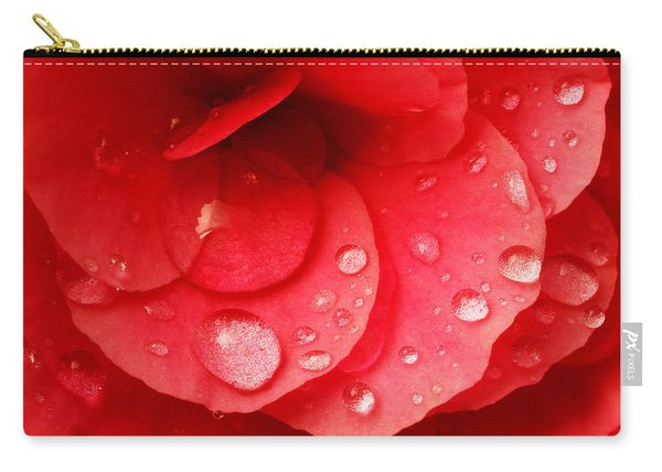 Raindrops On Red Begonia Carry-all Pouch