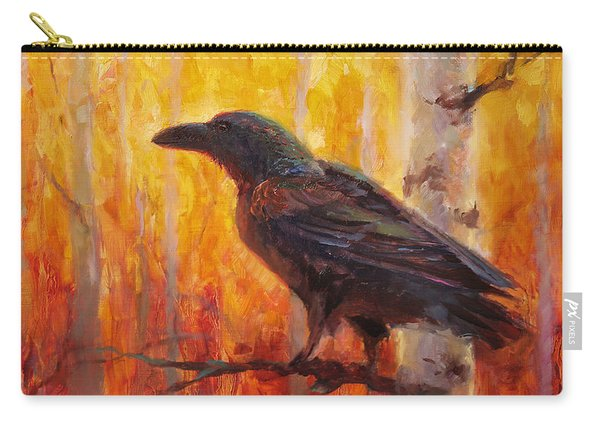 Raven Glow Autumn Forest Of Golden Leaves Carry-all Pouch
