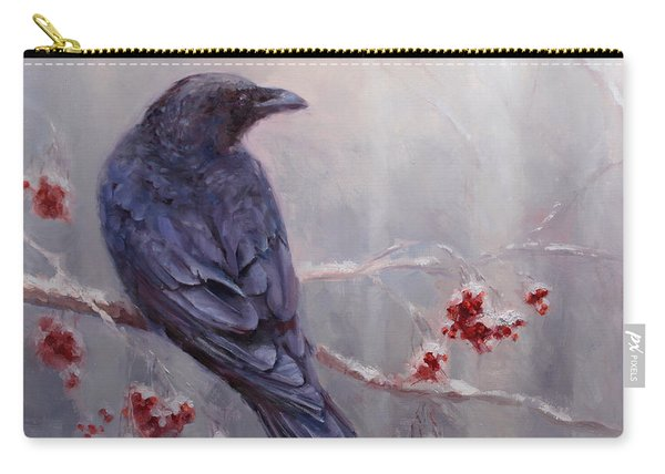 Raven In The Stillness - Black Bird Or Crow Resting In Winter Forest Carry-all Pouch