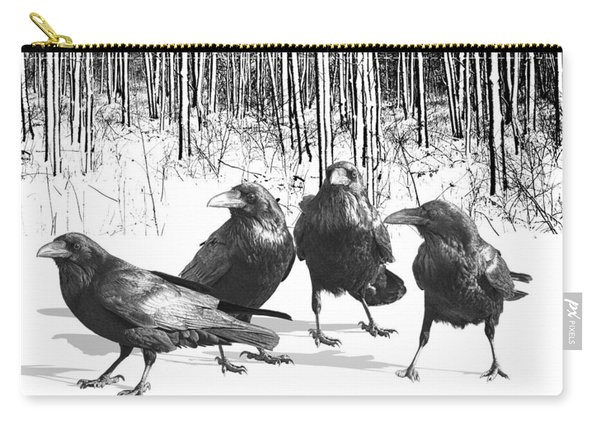 Ravens By The Edge Of The Woods In Winter Carry-all Pouch