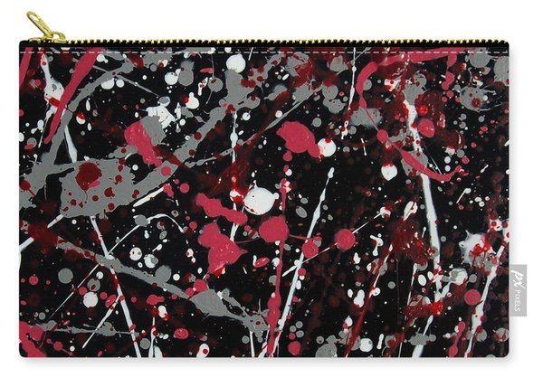 Red And Grey Paint Splatter I Carry-all Pouch