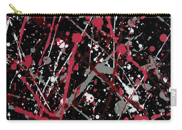 Red And Grey Paint Splatter II Carry-all Pouch