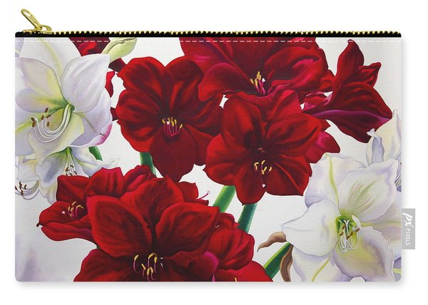 Red And White Amaryllis Carry-all Pouch